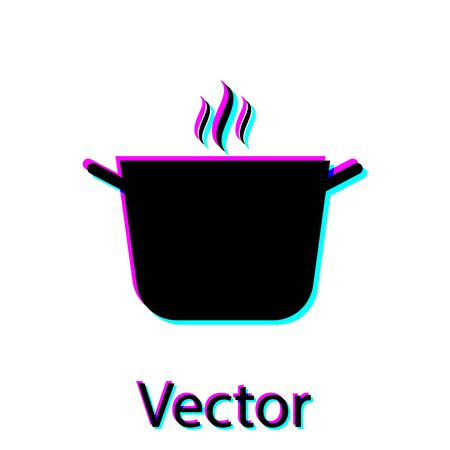 Black Cooking pot icon isolated on white background. Boil or stew food symbol. Vector Illustration Çizim
