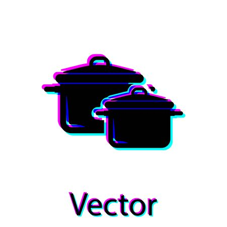 Black Cooking pot icon isolated on white background. Boil or stew food symbol. Vector Illustration Stock Vector - 128922141