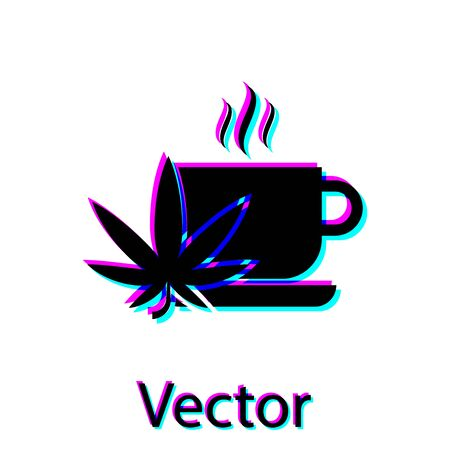 Black Cup tea with marijuana or cannabis leaf icon isolated on white background. Marijuana legalization. Hemp symbol. Vector Illustration