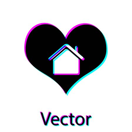 Black House with heart shape icon isolated on white background. Love home symbol. Family, real estate and realty. Vector Illustration