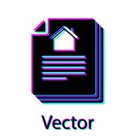 Black House contract icon isolated on white background. Contract creation service, document formation, application form composition. Vector Illustration Vector Illustratie
