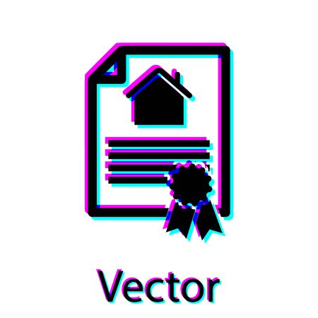 Black House contract icon isolated on white background. Contract creation service, document formation, application form composition. Vector Illustration
