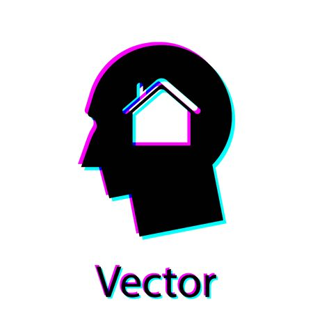 Black Man dreaming about buying a new house icon isolated on white background. Vector Illustration