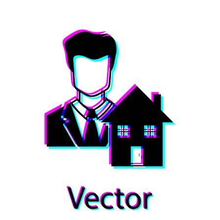 Black Realtor icon isolated on white background. Buying house. Vector Illustration Illustration