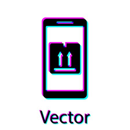 Black Mobile smart phone with app delivery tracking icon isolated on white background. Parcel tracking. Vector Illustration