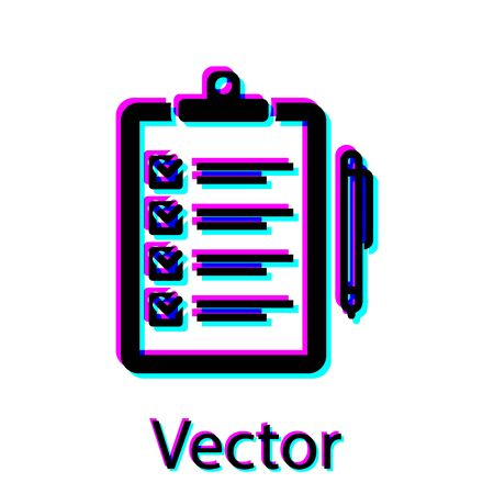 Black Verification of delivery list clipboard and pen icon isolated on white background. Vector Illustration