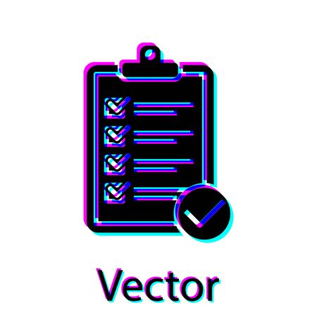 Black Verification of delivery list clipboard and pen icon isolated on white background. Vector Illustration Zdjęcie Seryjne - 128923041
