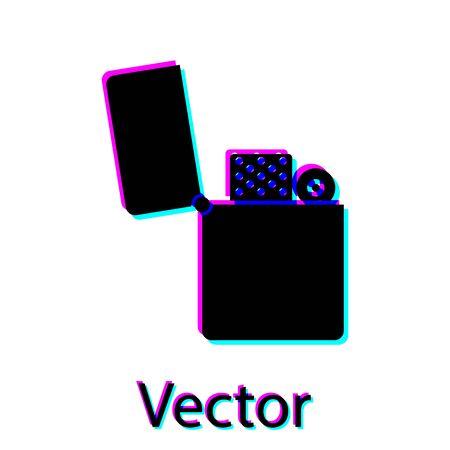 Black Lighter icon isolated on white background. Vector Illustration