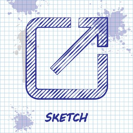Sketch line Open in new window icon isolated on white background. Open another tab button sign. Browser frame symbol. External link sign. Vector Illustration