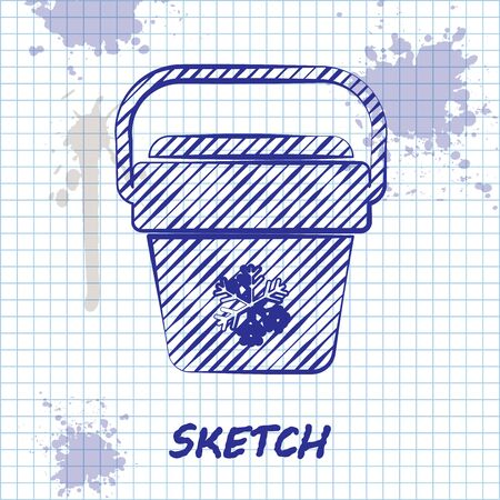 Sketch line Cooler bag icon isolated on white background. Portable freezer bag. Handheld refrigerator. Vector Illustration Stock Illustratie