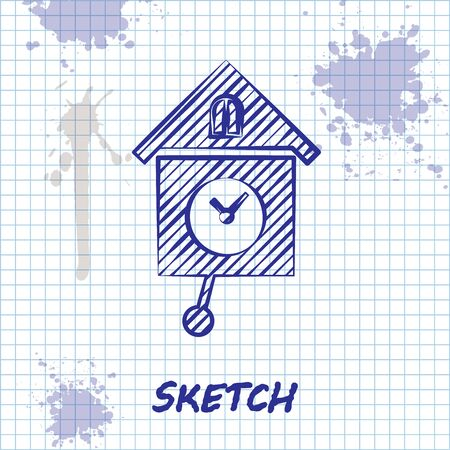 Sketch line Retro wall watch icon isolated on white background. Cuckoo clock sign. Antique pendulum clock. Vector Illustration