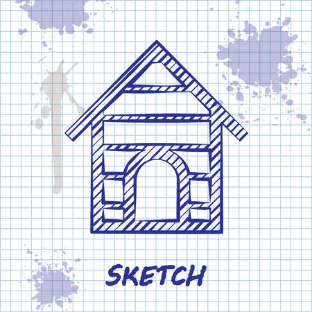 Sketch line Dog house icon isolated on white background. Dog kennel. Vector Illustration