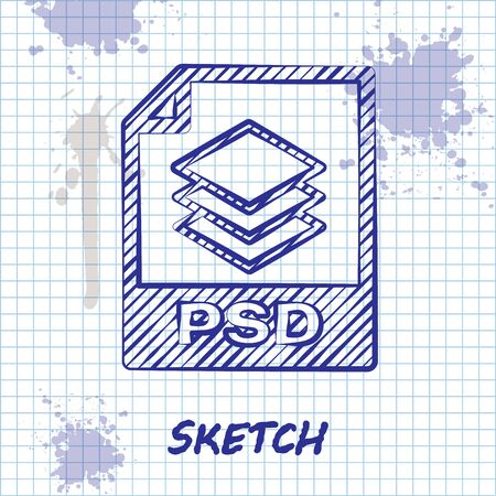 Sketch line PSD file document. Download psd button icon isolated on white background. PSD file symbol. Vector Illustration