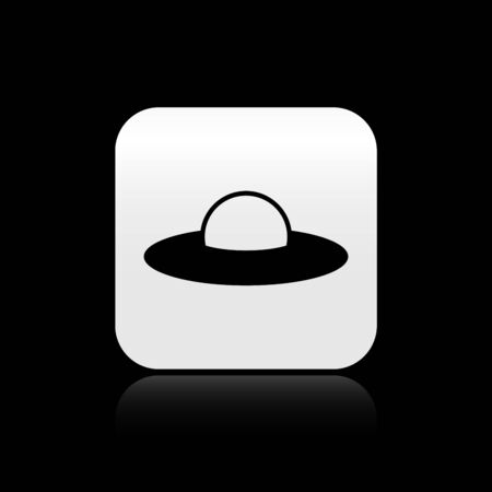 Black UFO flying spaceship icon isolated on black background. Flying saucer. Alien space ship. Futuristic unknown flying object. Silver square button. Vector Illustration Stock Illustratie