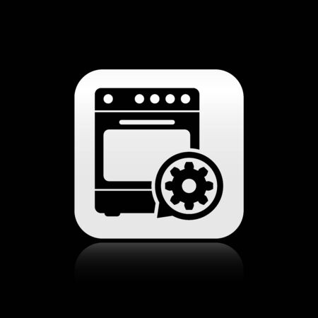 Black Oven and gear icon isolated on black background. Adjusting app, service concept, setting options, maintenance, repair, fixing. Silver square button. Vector Illustration