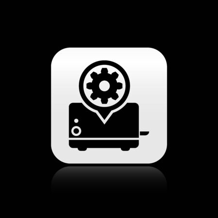 Black Toaster and gear icon isolated on black background. Adjusting app, service concept, setting options, maintenance, repair, fixing. Silver square button. Vector Illustration Illustration
