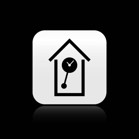 Black Retro wall watch icon isolated on black background. Cuckoo clock sign. Antique pendulum clock. Silver square button. Vector Illustration