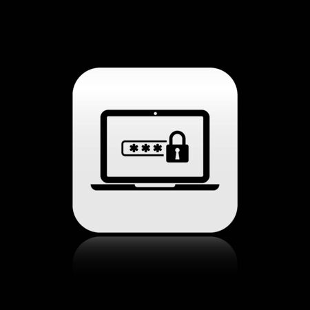 Black Laptop with password notification and lock icon isolated on black background. Security, personal access, user authorization, login form. Silver square button. Vector Illustration Çizim