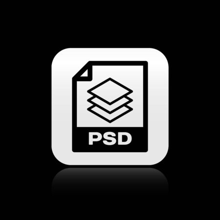 Black PSD file document. Download psd button icon isolated on black background. PSD file symbol. Silver square button. Vector Illustration Illustration