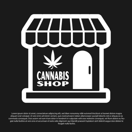 Black Marijuana and cannabis store icon isolated on black background. Equipment and accessories for smoking, storing medical cannabis. Vector Illustration