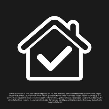 Black House with check mark icon isolated on black background. Real estate agency or cottage town elite class. Vector Illustration