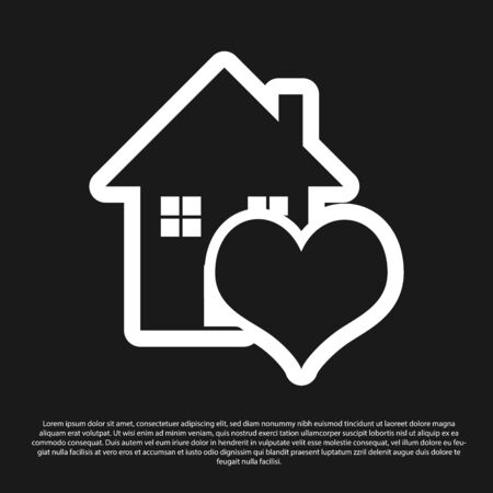 Black House with heart shape icon isolated on black background. Love home symbol. Family, real estate and realty. Vector Illustration