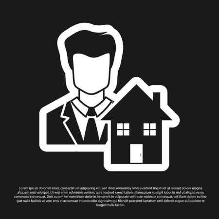 Black Realtor icon isolated on black background. Buying house. Vector Illustration Illustration