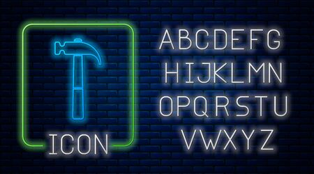 Glowing neon Hammer icon isolated on brick wall background. Tool for repair. Neon light alphabet. Vector Illustration