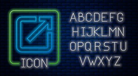 Glowing neon Open in new window icon isolated on brick wall background. Open another tab button sign. Browser frame symbol. External link sign. Neon light alphabet. Vector Illustration