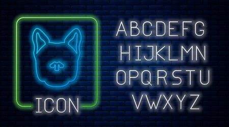 Glowing neon Dog icon isolated on brick wall background. Neon light alphabet. Vector Illustration Archivio Fotografico - 129189345