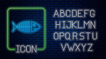 Glowing neon Fish skeleton icon isolated on brick wall background. Fish bone sign. Neon light alphabet. Vector Illustration