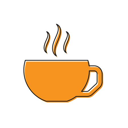 Orange Coffee cup flat icon isolated on white background. Tea cup. Hot drink coffee. Vector Illustration