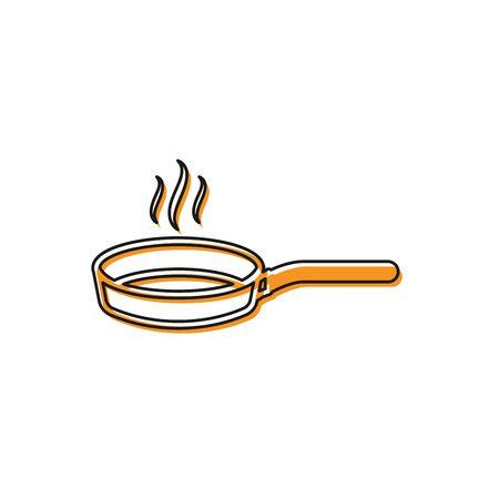 Orange Frying pan icon isolated on white background. Fry or roast food symbol. Vector Illustration Çizim