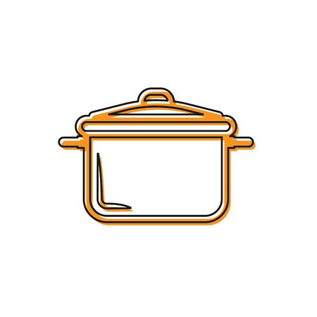 Orange Cooking pot icon isolated on white background. Boil or stew food symbol. Vector Illustration Çizim