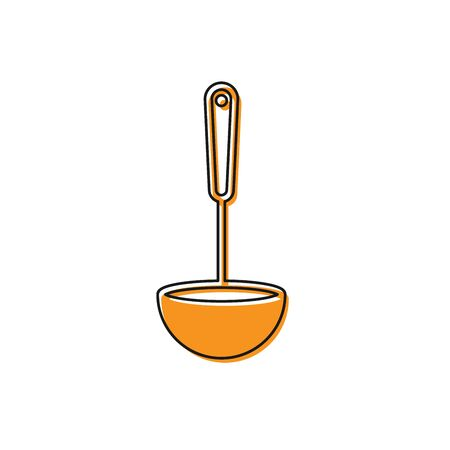 Orange Kitchen ladle icon isolated on white background. Cooking utensil. Cutlery spoon sign. Vector Illustration Stock Illustratie