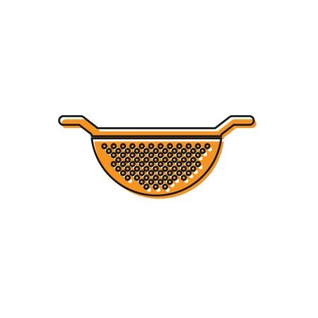 Orange Kitchen colander icon isolated on white background. Cooking utensil. Cutlery sign. Vector Illustration