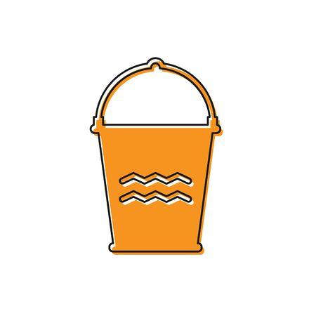 Orange Bucket icon isolated on white background. Vector Illustration