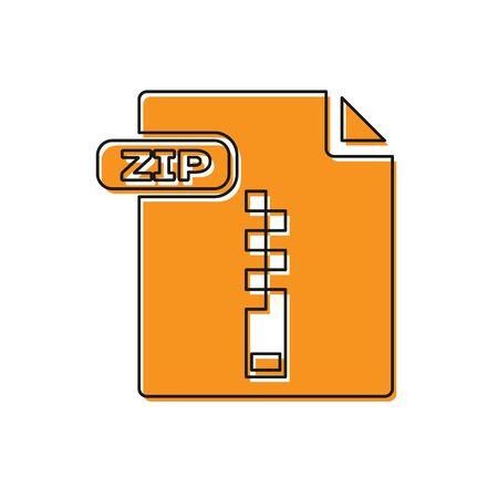 Document de fichier ZIP orange. Télécharger l'icône du bouton zip isolé sur fond blanc. Symbole de fichier ZIP. Illustration vectorielle Vecteurs