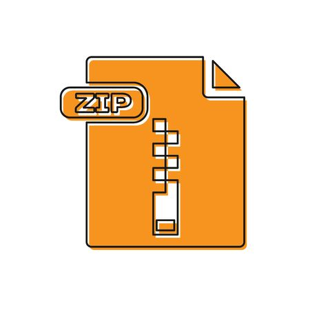 Orange ZIP file document. Download zip button icon isolated on white background. ZIP file symbol. Vector Illustration