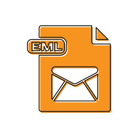 Orange EML file document. Download eml button icon isolated on white background. EML file symbol. Vector Illustration