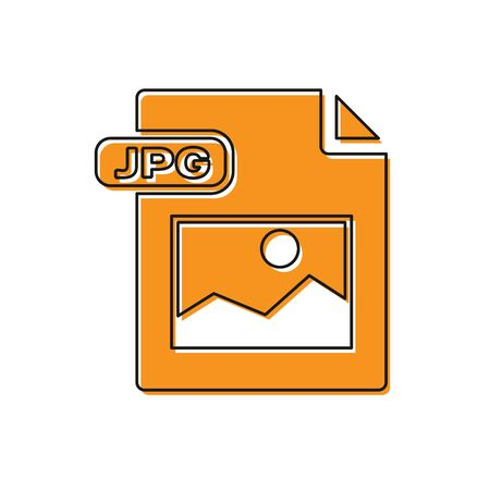 Orange JPG file document  Download image button icon isolated