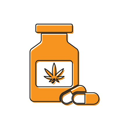 Orange Medical bottle with marijuana or cannabis leaf icon isolated on white background. Mock up of cannabis oil extracts in jars. Vector Illustration