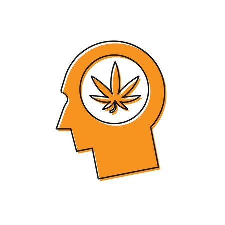 Orange Silhouette of male head in profile with marijuana or cannabis leaf icon isolated on white background. Marijuana legalization. Hemp symbol. Vector Illustration Standard-Bild - 129108401