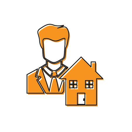 Orange Realtor icon isolated on white background. Buying house. Vector Illustration Standard-Bild - 129109236