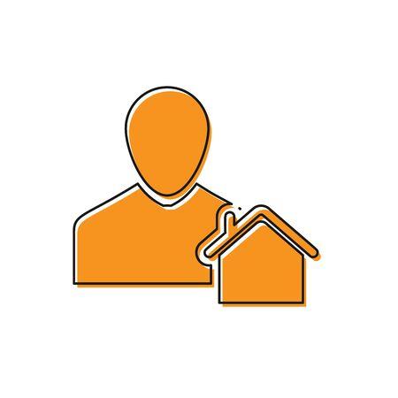Orange Realtor icon isolated on white background. Buying house. Vector Illustration Standard-Bild - 129109315