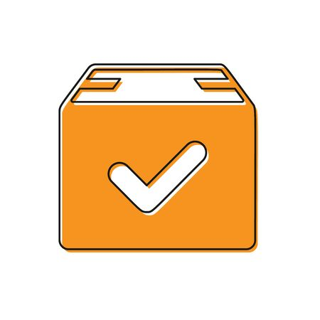 Orange Package box with check mark icon isolated on white background. Parcel box with checkmark. Approved delivery or successful package receipt. Vector Illustration Illustration