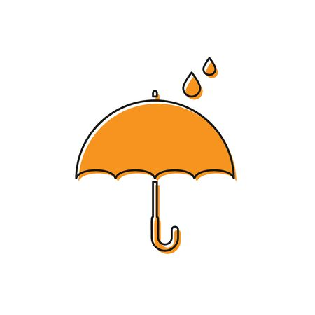 Orange Umbrella and rain drops icon isolated on white background. Waterproof icon. Protection, safety, security concept. Water resistant symbol. Vector Illustration