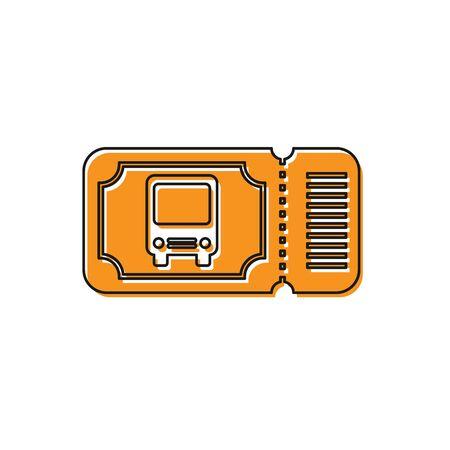 Orange Bus ticket icon isolated on white background. Public transport ticket. Vector Illustration