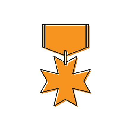 Orange Military reward medal icon isolated on white background. Army sign. Vector Illustration Standard-Bild - 129193184