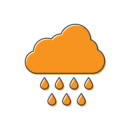 Orange Cloud with rain icon isolated on white background. Rain cloud precipitation with rain drops. Vector Illustration